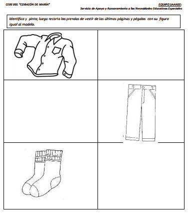 para trabajar las prendas de vestir una tarea de reconocimiento de