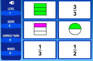 Asociar representación con fracción escrita