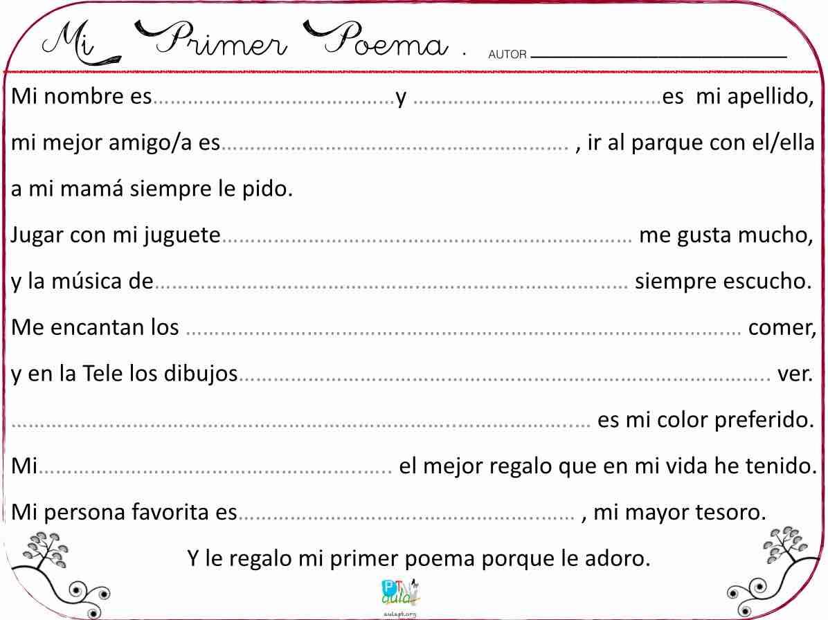 Atractivo Mi Plantilla De Poema Motivo - Colección De Plantillas De ...
