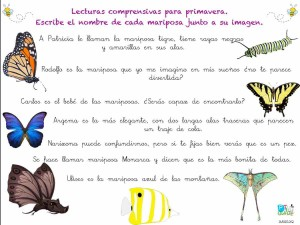 lectura comprensiva mariposas