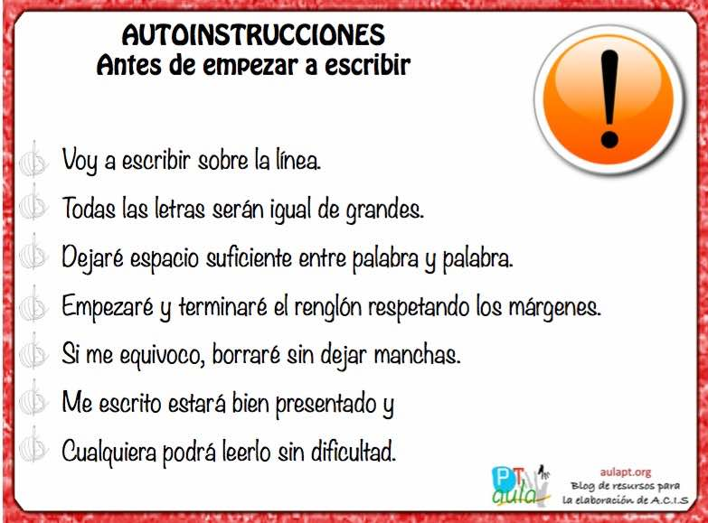 Autoinstrucciones para la Disgrafía