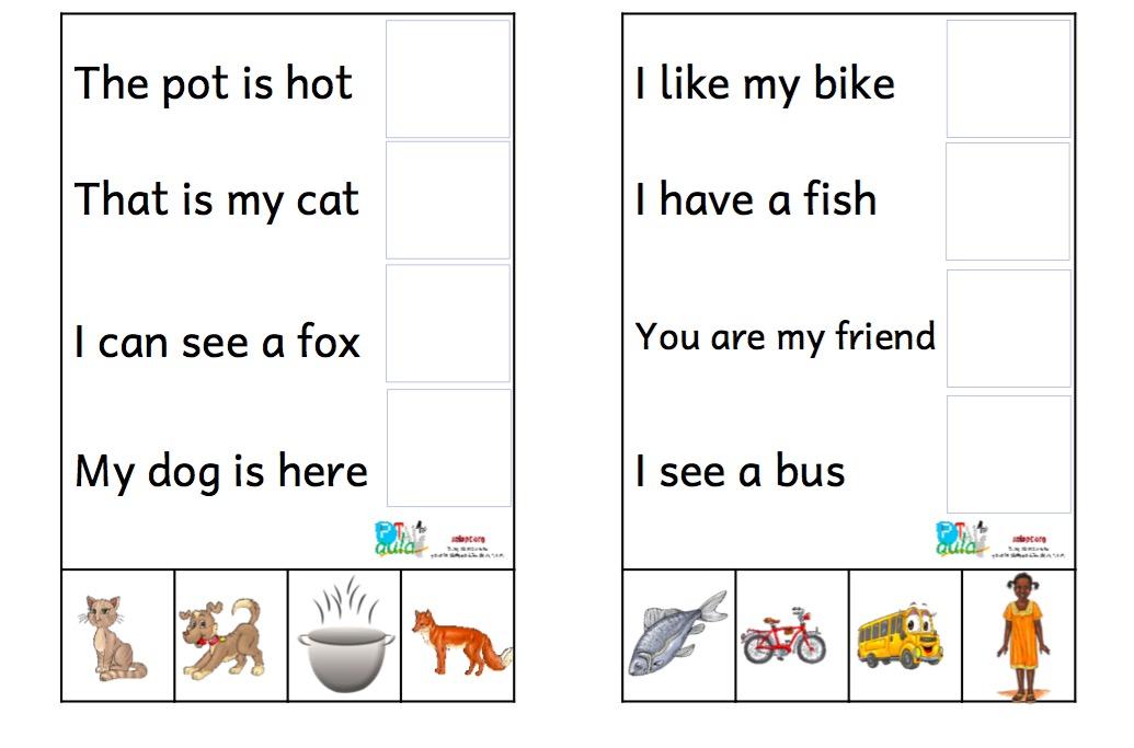 32 Actividades De Comprensión De Frases Muy Cortas Ingles Y
