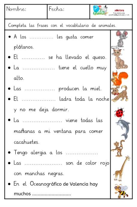 comprensión lectora frases animales