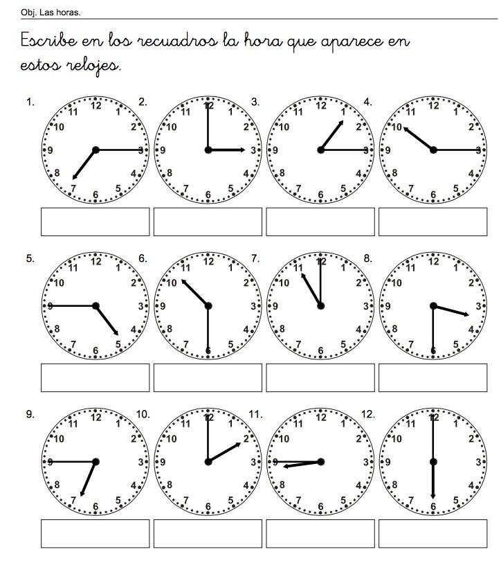 escribe las horas