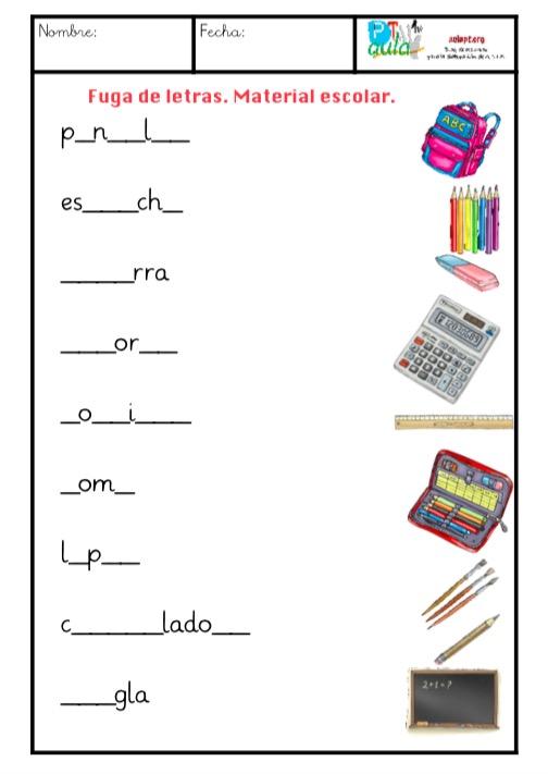 Vocabulario Material escolar