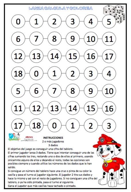 Juego Matematico Lanza 3 Dados Calcula Y Colorea Aula Pt