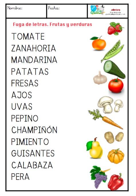 frutas y verduras mayúsculas