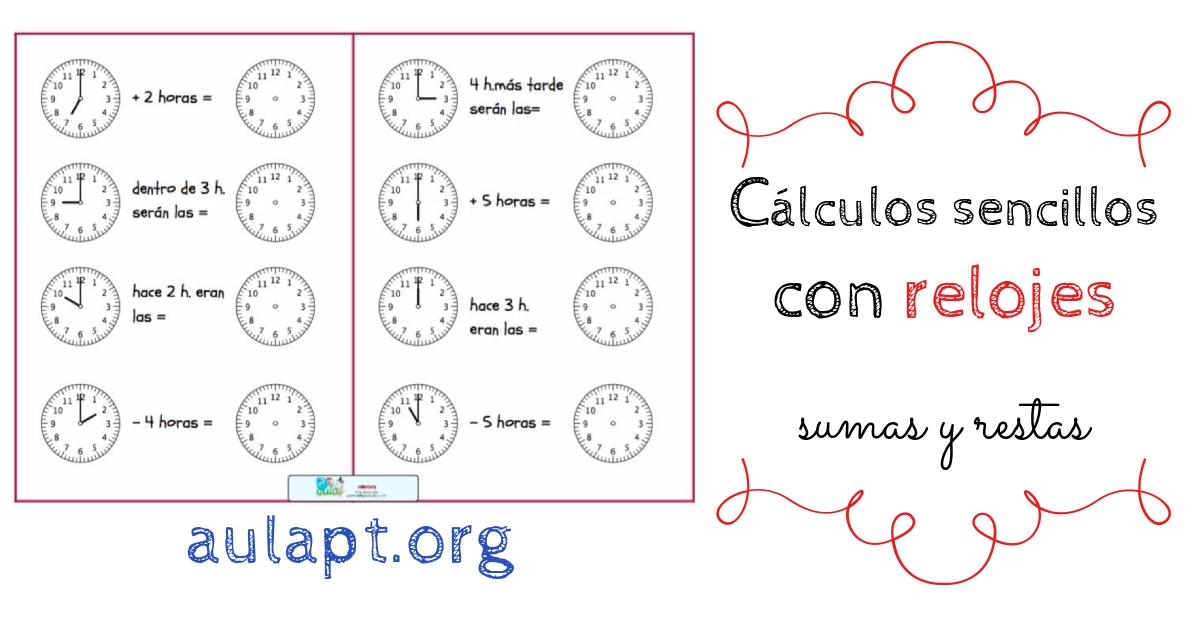 cálculos sencillos con relojes