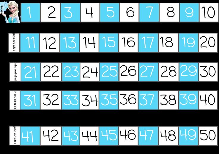 recta numérica hasta el 50 frozen