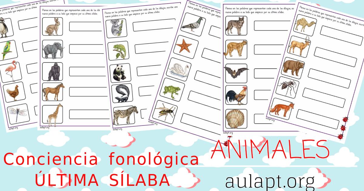 CONCIENCA FONOLÓGICA SOBRE ANIMALES: ÚLTIMA SÍLABA. - Aula PT