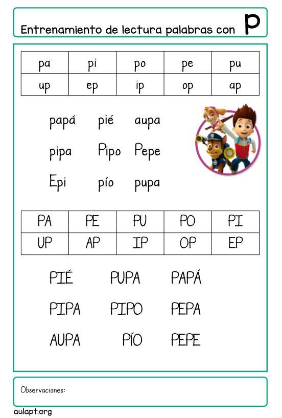 Entrenamiento De Lectura De Palabras Con P Aula Pt
