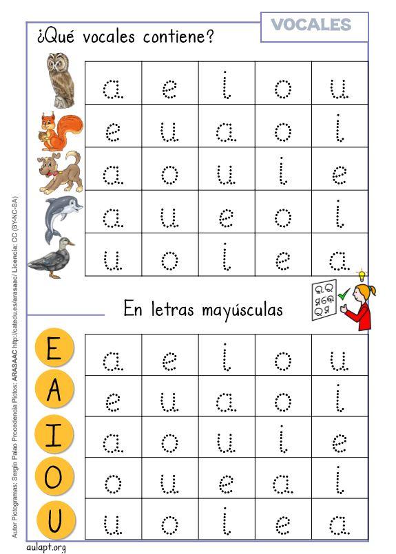 Vocales Con Letra Imprenta Lectura Grafía Y Conciencia Fonológica
