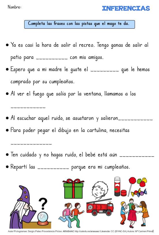 COMPRENSIÓN LECTORA DE FRASES CORTAS. INFERENCIAS - Aula PT