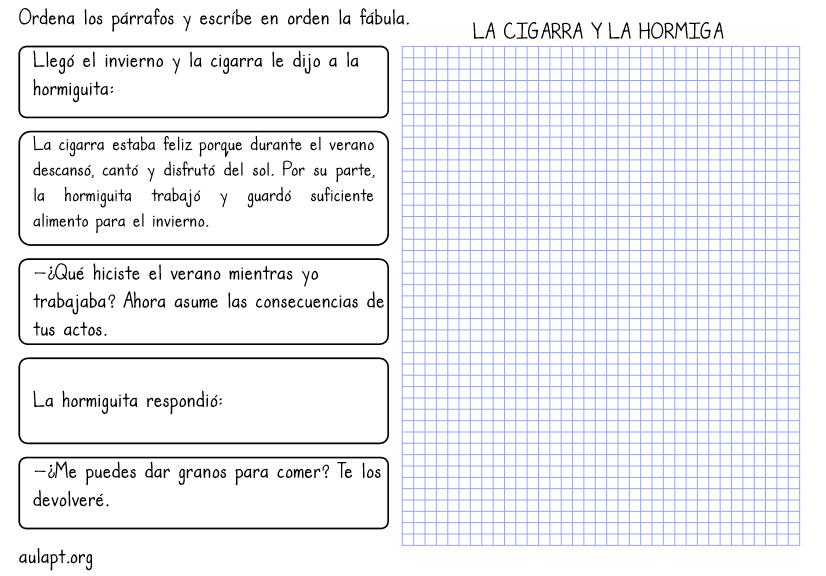 ORDENA PÁRRAFOS. 2 TAREAS DE COMPRENSIÓN LECTORA - Aula PT
