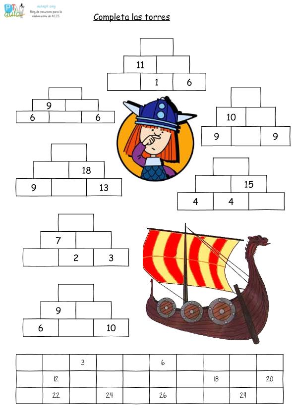 Ficha de refuerzo. Pirámides numéricas - Aula PT