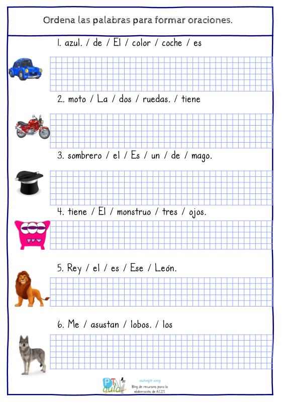 Ordena Palabras Para Formar Oraciones Con Ayuda Visual Aula Pt