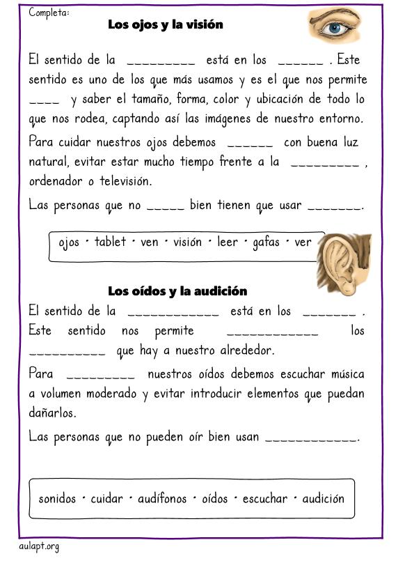 Actividades de comprensión lectora. Los cinco sentidos - Aula PT