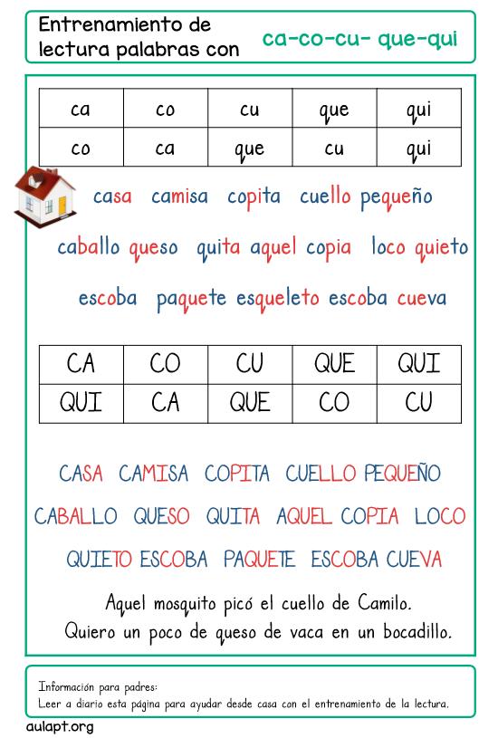 Entrenamiento De La Lectura En Casa Letra Imprenta Ca Co Cu Que