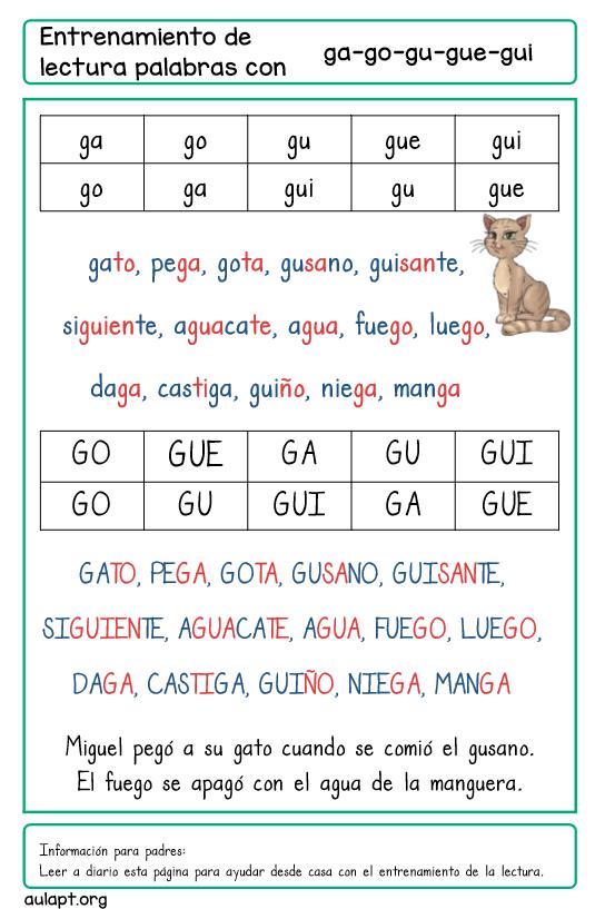 Entrenamiento De La Lectura En Casa Palabras Con Ga Go Gu