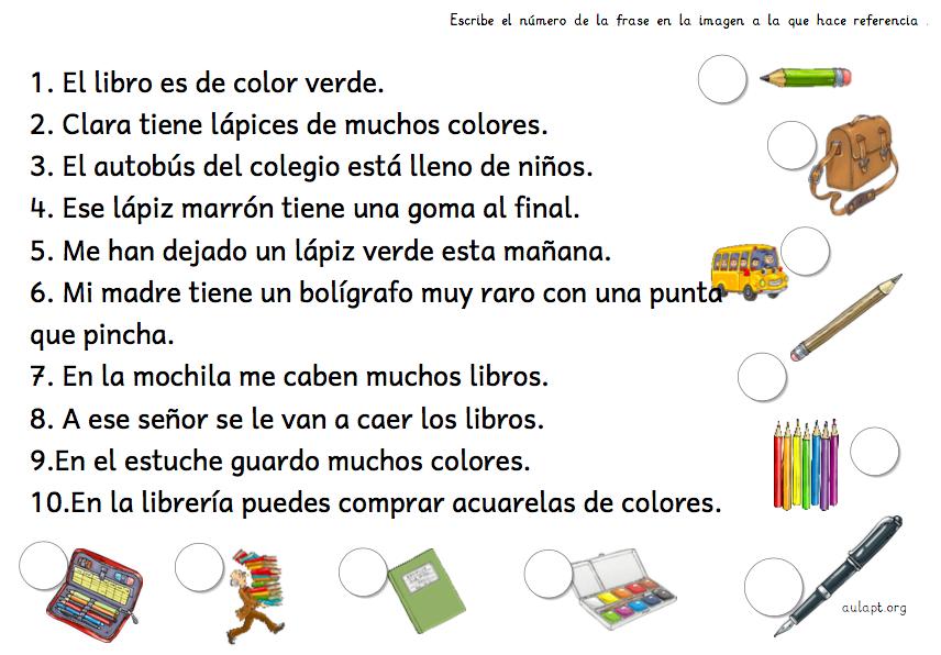 Comprensión Lectora De Frases Asociadas A Imagen Aula Pt
