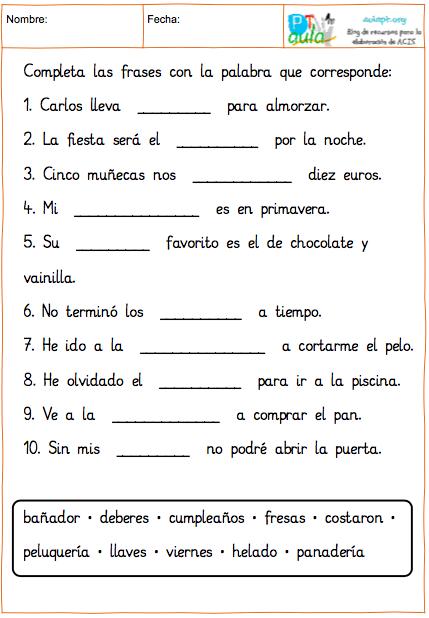 100 Frases Para Trabajar La Comprensión Lectora De Frases